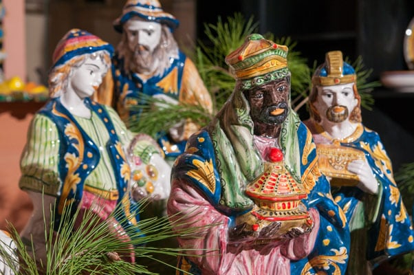 colorful ceramic figures made in san juan representing the 3 kings