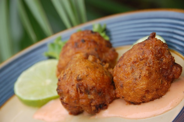 conch fritters from grand turk served with lemon and pink sauce