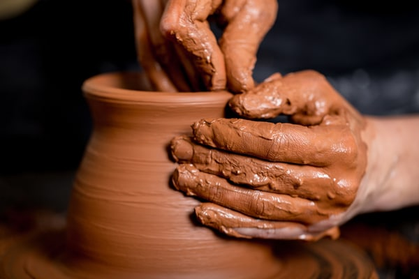 hand-made pottery from rolled clay