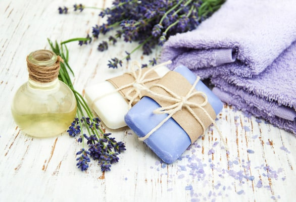 lavender and white soap and oil from dominica