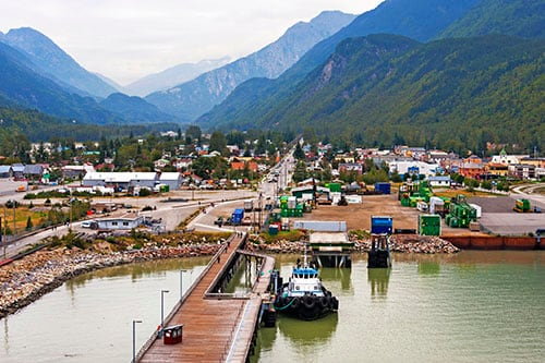 aerial view of downtown skagway from a cruise ship