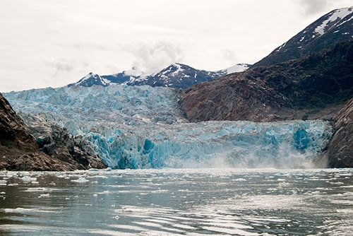 aftermath of ice breaking off from the sawyer glacier in alaska