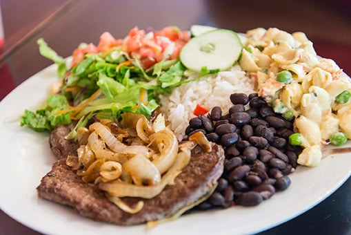 plate of casado from limon, made with rice, black beans, pork, and salad