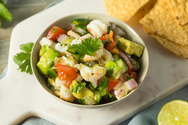shrimp ceviche with chips from belize