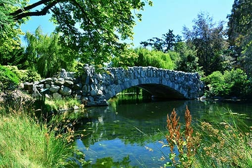 stone bridge over a lake in beacon hill park, victoria, bc, canada