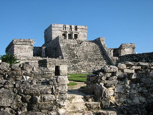 ancient city of tulum during a cloudless day