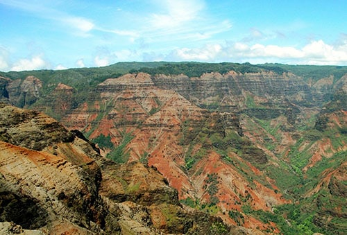 aerial view of waimea canyon in kauai hawaii during a bright, sunny day