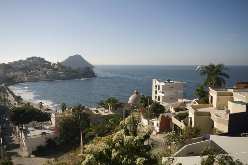 aerial view of the coast of mazatlan mexico on a sunny day