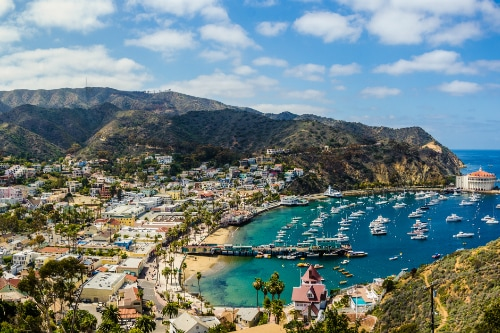 aerial view of catalina island including the avalon bay and the catalina island casino