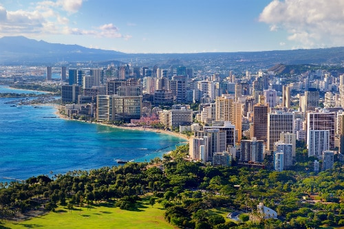 aerial view of the metropolitan area of honolulu hawaii