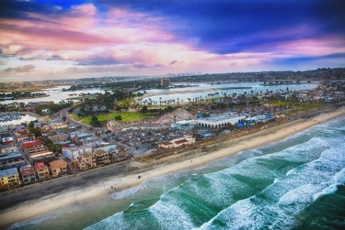 aerial view of mission beach and the famous roller coaster in san diego