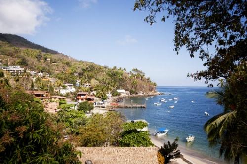 aerial view of pizota village and port near puerto vallarta