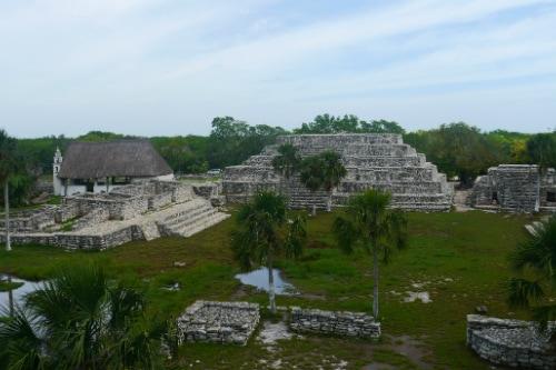 aerial view of the mayan ruins of xcambo including el templo de la cruz, la plataforma, and el templo de la virgen