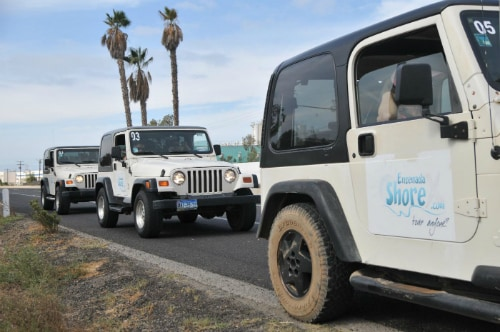 3 white jeeps riding along the paved streets of ensenada during a tour of the city