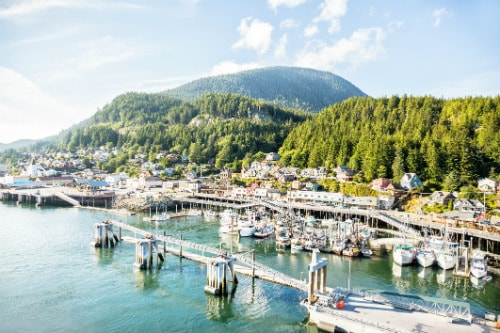 aerial view of ketchikan alaska during a clear sunny day