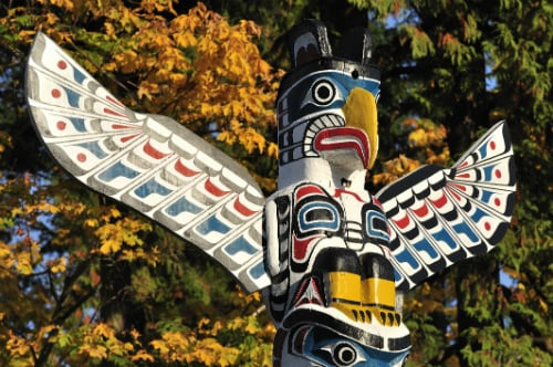 colorful, wooden totem pole made in victoria british columbia