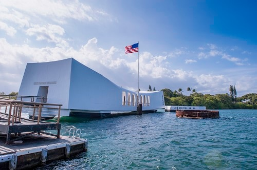 memorial of uss arizona that lies on the harbor floor since the events of pearl harbor