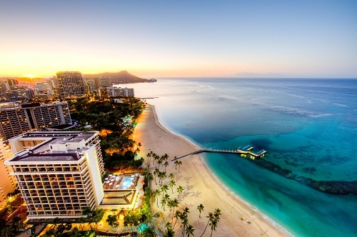 aerial view of sunrise at Waikiki beach in honolulu