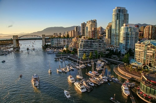 aerial view of the vancouver skyline
