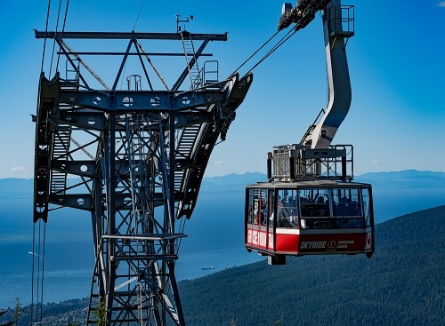 people on board the skyride in vancouver, as they head to the top of grouse mountain