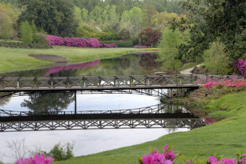 a wooden bridge crossing a lake in bellingrath gardens