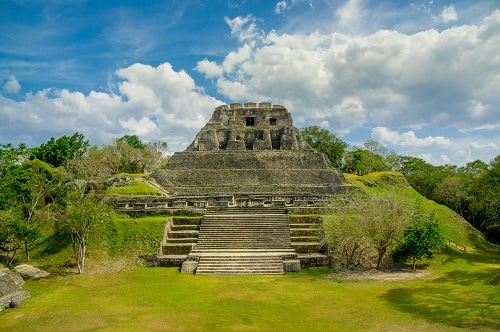 aerial view of the xunantunich mayan ruins found new belize