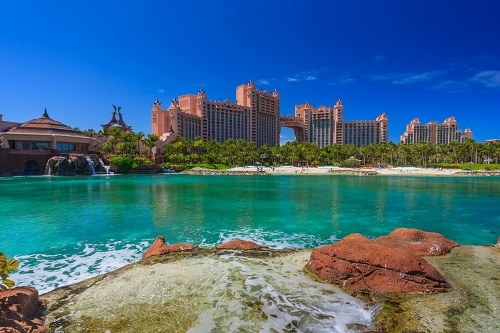 view of the atlantis resort in nassau bahamas from a nearby port