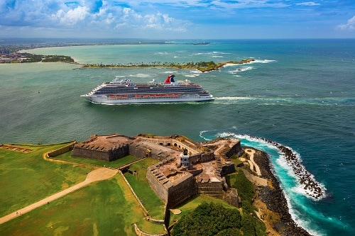 carnival horizon sailing to the caribbean cruise destination of san juan, puerto rico