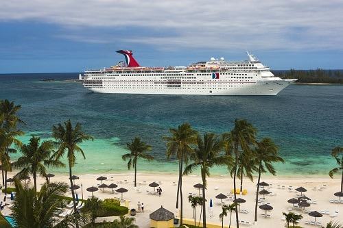 carnival sensation sailing towards nassau bahamas during the winter season