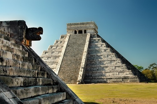 temple of chichen itza in the ancient mayan ruins near progresso mexico