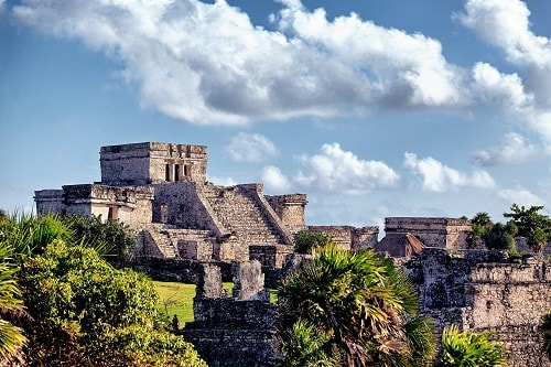 side view of the tulum ruins near the caribbean cruise destination of cozumel, mexico