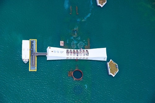 aerial view of the pearl harbor memorial of uss arizona