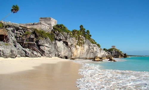 beautiful beach at the ancient city of tulum