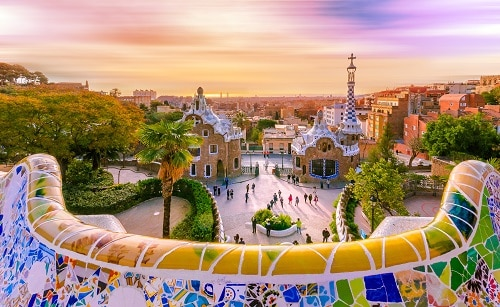 view of the colorful city of barcelona, spain from park guell