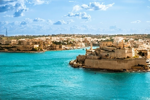 clear blue waters along the coast of malta's capital, valletta