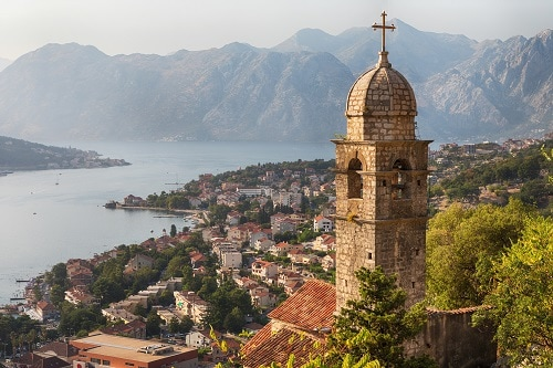breathtaking view of the coast of kotor, montenegro and a famous church
