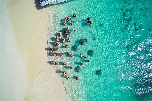 aerial of a group of people enjoying the reef and rays beach