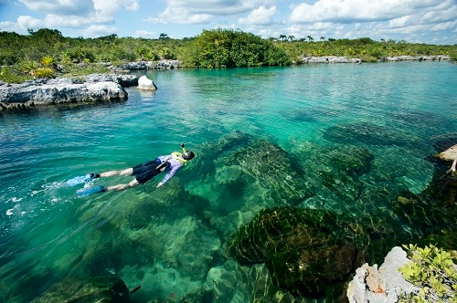man snorkeling along the mystic mayan river in cozumel, mexico