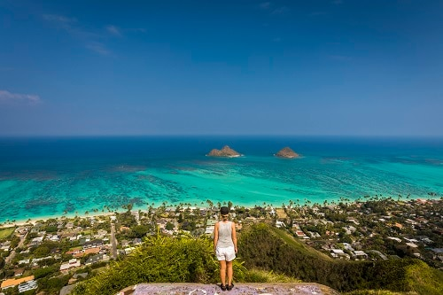 woman overlooking hawaiian coast from the top of a hill during a cruise ship tour