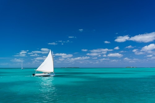 catamaran sailing in the ocean near the bahamas