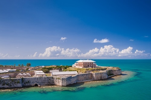 aerial view of the commissioners house in kings wharf bermuda