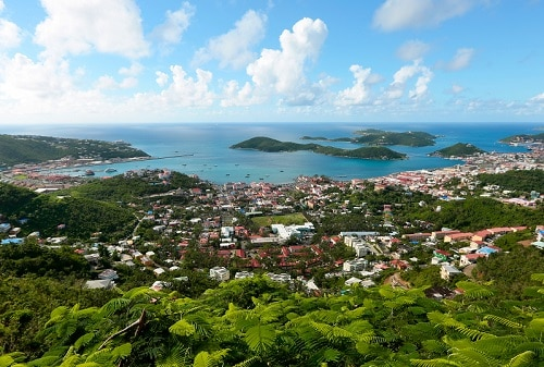 elevated view of the city of st thomas from the top of a local mountain