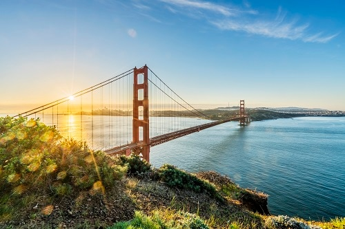 aerial view of the golden gate bridge in san francisco during the sun rise