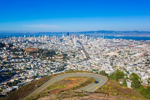 view of san francisco from the top of twin peaks