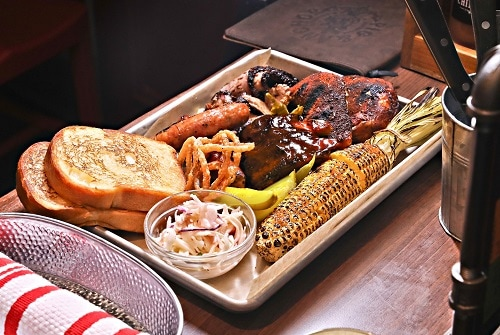 whole smoker meal from guys pig and anchor on carnival vista