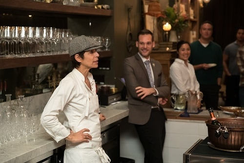 chef crenn talking to carnival mastercard card members at her san francisco restaurant, bar crenn
