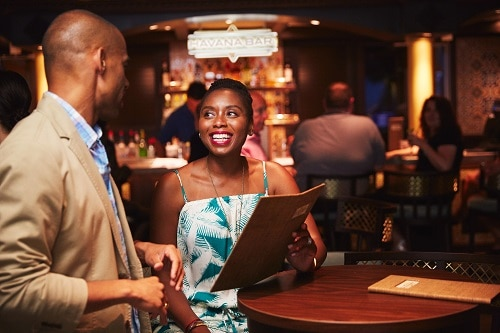 couple having drinks at carnival sunshine's havana bar