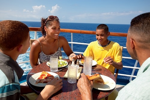 family eating pizza from pizza pirate on carnival fascination