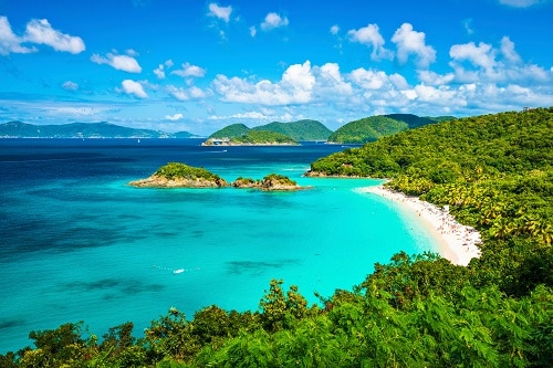 aerial view of a beautiful beach in st thomas, us virgin islands