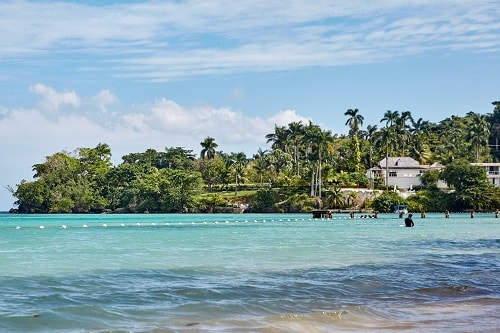 crystal clear waters of a beach in ocho rios jamaica